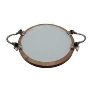 Charola de madera con porcelana y asas de metal de 25x10x5cm