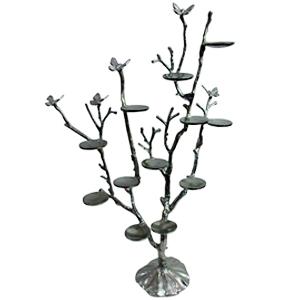 Candelabro diseño árbol con mariposas para 12 velas plateadas de 62x28x8cm
