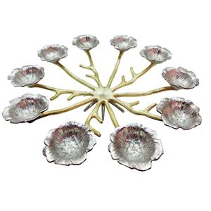 Candelabro redondo diseño flor para 10 velas de 64x64x14cm