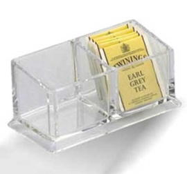 Porta sobres de azúcar de acrílico doble transparente de 16.6x8.2x7.5 cm