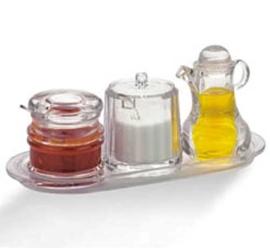Juego de 3 recipientes para crema, miel y mermelada en base