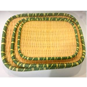 Plato de melamina rectangular diseño tejido con orilla verde de 30x23x4cm