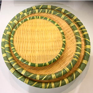 Plato de melamina redondo diseño tejido con orilla verde de 18x28cm