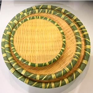 Plato de melamina redondo diseño tejido con orilla verde de 30x30x4.5cm