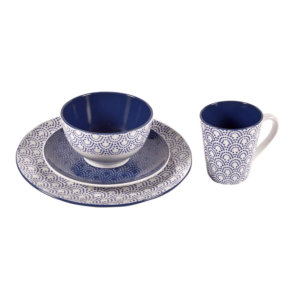 Vajilla de porcelana blanca con puntos azules p/4 personas