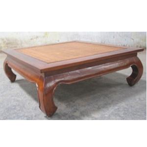 Mesa para café de teka con ratán de 100x100x30cm