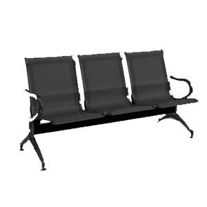 Sillón de metal para espacios publicos con 3 asientos negro de180x68x80cm