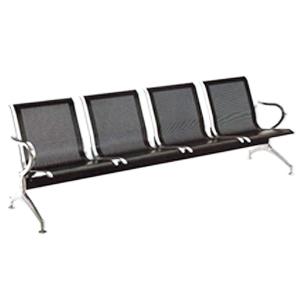 Sillón de metal para espacios publicos con 4 asientos negro de 238x68x80cm