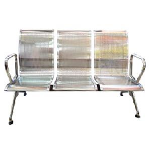 Sillón de metal para espacios publicos con 3 asientos de180x68x80cm