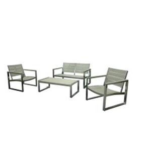 Juego de sala con mesa de aluminio con cubierta plastico imitación madera gris 2+1+1