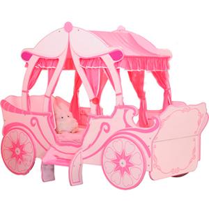 Cama de madera diseño carreta color rosa de 100x190cm