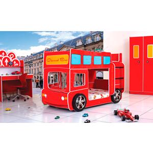 Litera para niño diseño autobus turistico rojo con luz en los faros 214x118.5x140cm