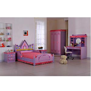 Recamara de Niña diseño castillo en rosa con morado incluye escritorio y ropero