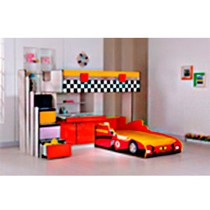 Litera de Niño diseño carro de formula 1 en colores rojo con amarillo incluye escritorio y cama de carro