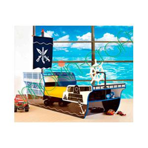 Cama para niño de madera diseño pirata 256x99.4x221cm