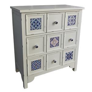 Cajonera de madera blanca c/9 cajones y mosaicos azules de 67.5x34x75.5cm