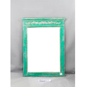 Marco con espejo rectangular en color verde terminado antiguo de 78x4x103cm
