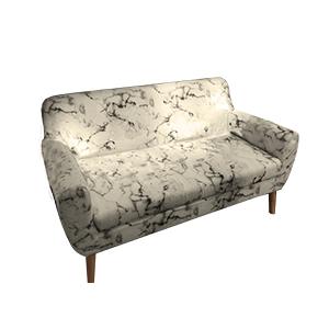 Sillon doble blanco de tela estampado marmol y patas de madera de 144x82x80.50cm