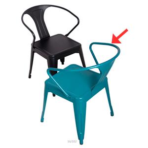 Silla de aluminio con descansabrazos en color azul de 51x55x79cm
