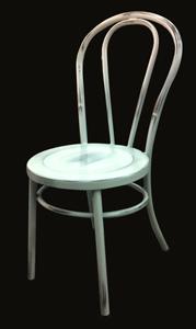 Silla de metal terminando Vintage blanco con respaldo calado de 44x52.5x85cm