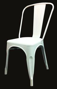 Silla de aluminio sin descanzabrazos blanca de 44.5x52x85.5cm