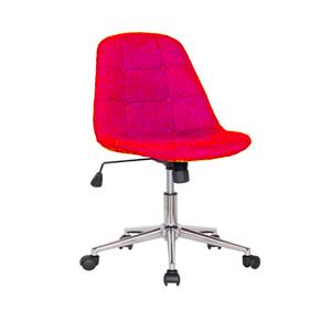 Silla de polipiel roja p/escritorio con altura ajustable y ruedas