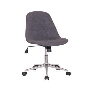 Silla de tela gris p/escritorio con altura ajustable y ruedas