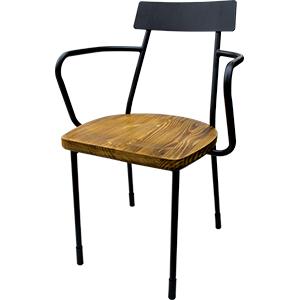 Silla de metal negra con asiento de madera