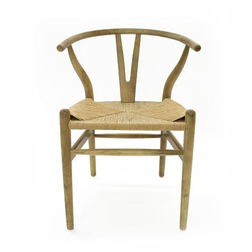 Silla de madera natural con asiento tejido de 45x47x80cm