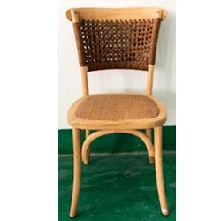 Silla de madera natural con respaldo tejido café de 46x42x87cm