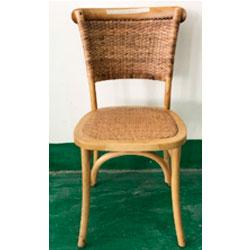 Silla de madera natural con asiento y respaldo tejido de 46x42x88cm