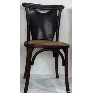 Silla cafe de madera con asiento tejido y respaldo de polipiel café de 46x42x88cm