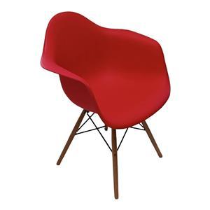 Silla estilo moderno roja imitacion patas de madera