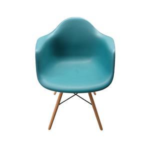 Silla de plastico azul turquesa imitación patas de madera de 61x63x81cm