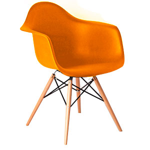 Silla estilo moderno naranja imitacion patas de madera de 61x63x81cm