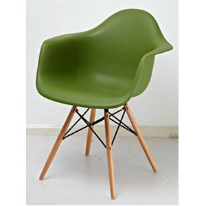 Silla estilo moderno verde olivo imitación patas de madera de 61x63x81cm