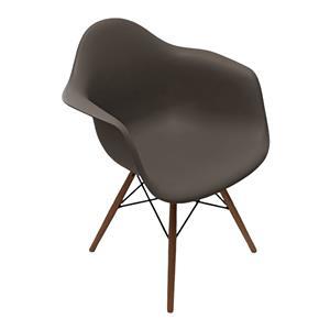 Silla de plastico gris imitación patas de madera de 61x63x81cm
