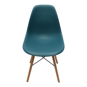 Silla estilo moderno azul turquesa imitación patas de madera de 83x46x34cm