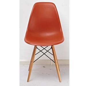 Silla estilo moderno naranja imitación patas de madera de 83x46x34cm