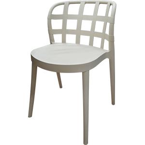 Silla de plástico beige con respaldo calado diseño cuadros y patas de plastico imitacion madera
