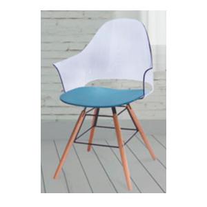 Silla de plástico con respaldo transparente, asiento blanco  y patas de plastico imitación madera