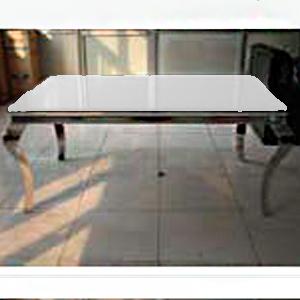 Mesa de acero inoxidable con cubierta de cristal templado de 150x150x76cm