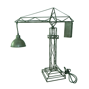 Lámpara de mesa diseño grúa de construcción c/pantalla gris de 69x20x68cm