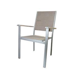 Silla con descansabrazos para exteriores de aluminio imitacion madera gris 87.5x57x55
