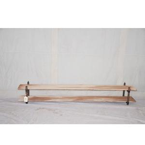 Mueble para TV de metal diseño industrial con repisas de madera de190x26.5x33cm