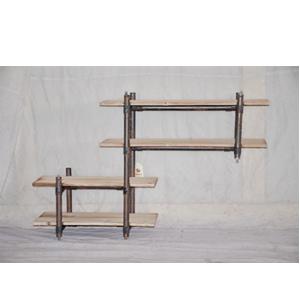 Mueble de metal diseño industrial con repisas de madera de 113x26.5x74cm