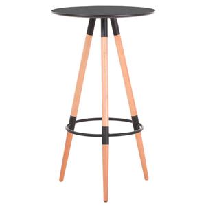 Mesa p/bar de plastico negra con patas imitación madera natural