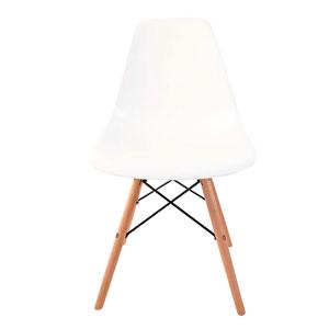 Silla blanca c/patas imitación madera natural de 83x46x34cm