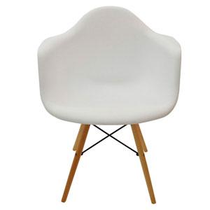 Silla blanca con patas imitación madera natural 64x60x81cm