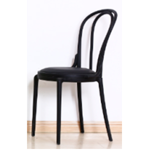 Silla de plástico negra con respaldo calado de 53x46.5x88cm